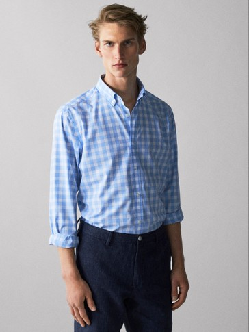 REGULAR FIT GINGHAM MELANGE SHIRT