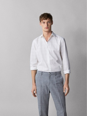SLIM FIT CHECK TEXTURED COTTON SHIRT