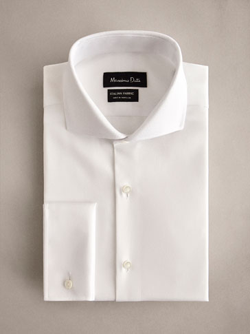 PERSONAL TAILORING SLIM FIT HERRINGBONE-TEXTURED COTTON SHIRT