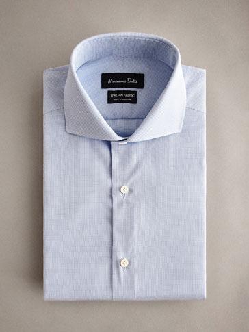 قميص قطني بمربعات دقيقة سليم فيت PERSONAL TAILORING