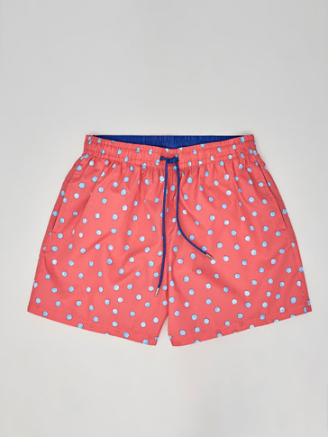 POLKA DOT PRINT SWIMMING TRUNKS