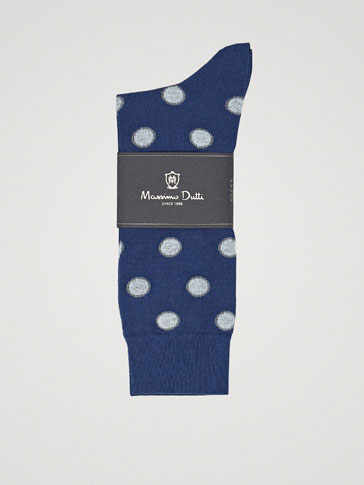 TWO-TONE POLKA DOT COMBED COTTON SOCKS