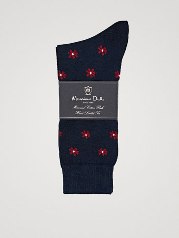 FLORAL PRINT COMBED COTTON SOCKS