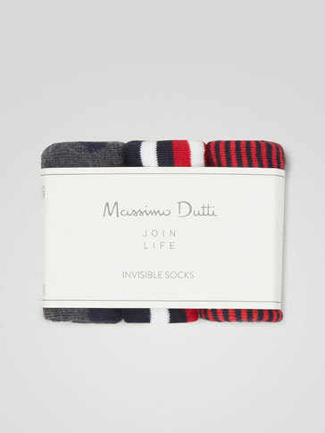 PACK OF COMBED COTTON NO-SHOW SOCKS WITH POLKA DOTS AND STRIPES