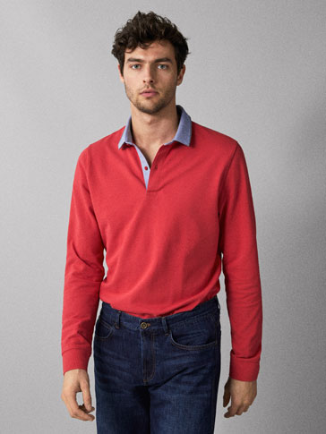 COTTON POLO SHIRT WITH SHIRT COLLAR