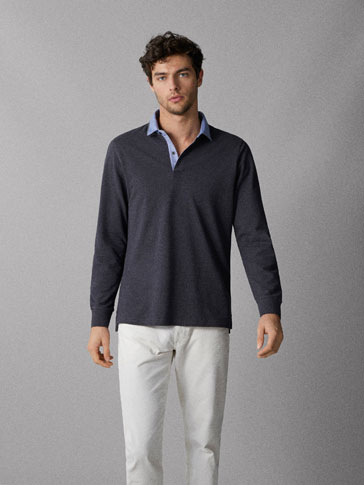 HEATHERED COTTON POLO SHIRT WITH SHIRT COLLAR