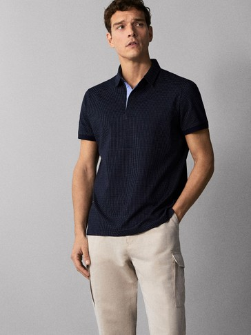 TEXTURED NAVY BLUE COTTON POLO SHIRT