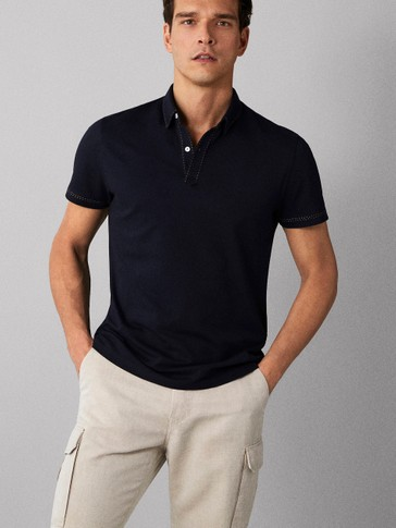 TOPSTITCHED COTTON POLO SHIRT