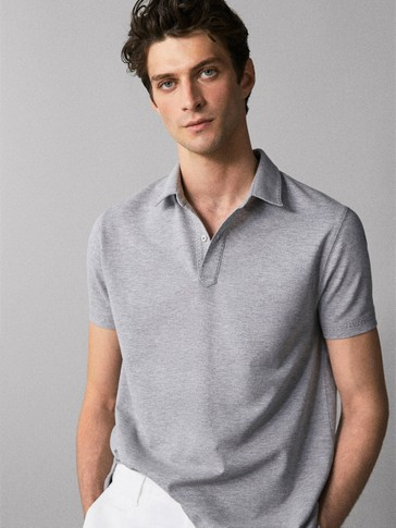 TOPSTITCHED MELANGE COTTON POLO SHIRT