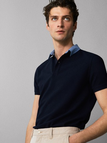 COTTON POLO SHIRT WITH DENIM COLLAR