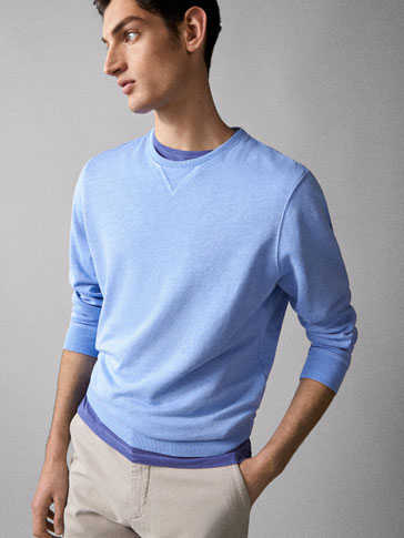 PLAIN LINEN COTTON SWEATSHIRT