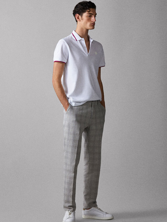 Massimo Dutti - COTTON POLO SHIRT WITH CONTRASTING COLLAR DETAIL - 1