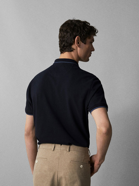Massimo Dutti - COTTON POLO SHIRT WITH CONTRASTING COLLAR DETAIL - 2