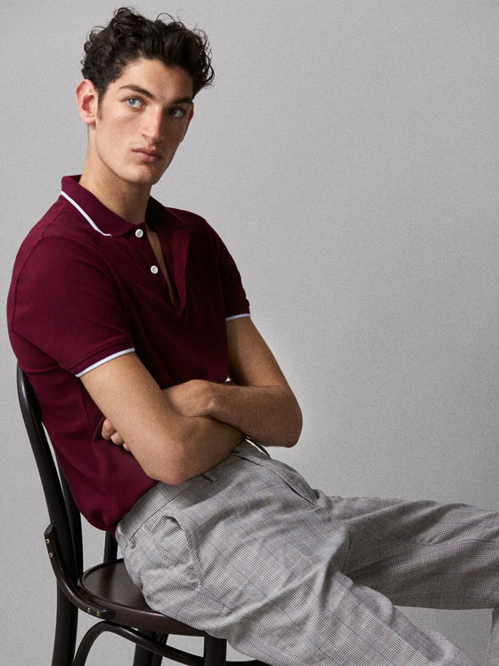 Massimo Dutti - COTTON POLO SHIRT WITH CONTRASTING COLLAR DETAIL - 3