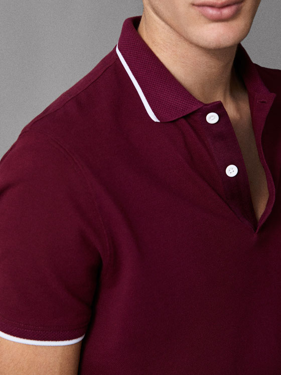 Massimo Dutti - COTTON POLO SHIRT WITH CONTRASTING COLLAR DETAIL - 5