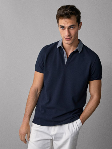 TEXTURED COTTON POLO SHIRT WITH CONTRAST DETAIL