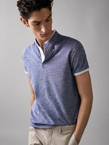 COTTON TEXTURED WEAVE POLO SHIRT