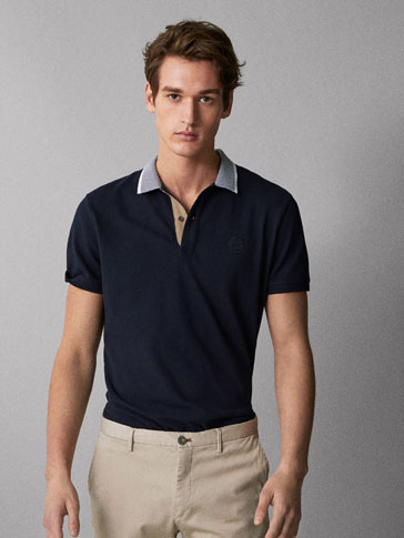 COTTON POLO SHIRT WITH STRIPED DETAIL