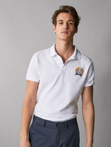 COTTON POLO SHIRT WITH CREST