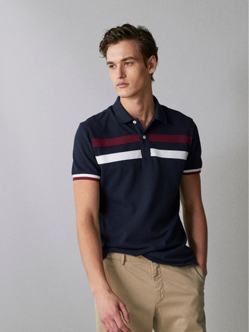 COTTON POLO SHIRT WITH FRONT STRIPES