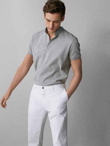 MELANGE COTTON POLO SHIRT