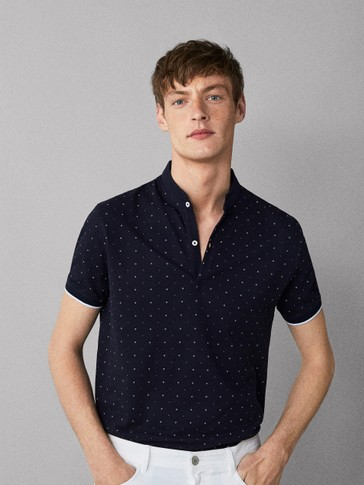 CIRCLE PRINT COTTON POLO SHIRT