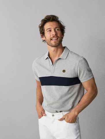 MARL POLO SHIRT WITH CONTRAST STRIPE