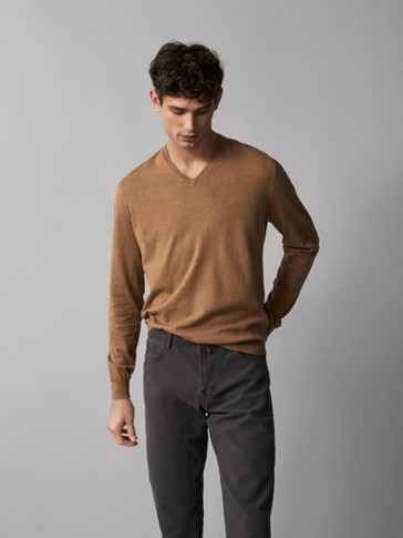 COTTON/SILK SWEATER WITH ELBOW PATCHES