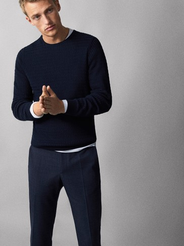 Cable Knit Cotton Sweater by Massimo Dutti