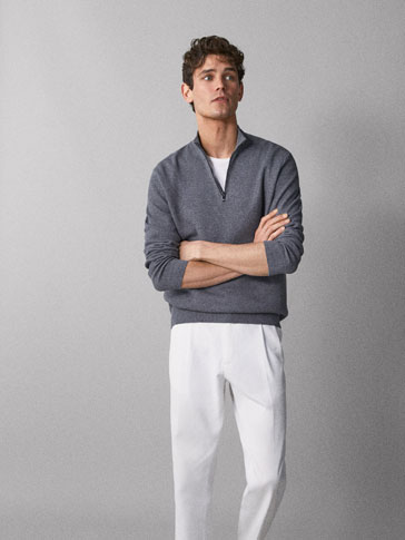 COTTON CASHMERE TEXTURED SWEATER WITH NAPPA LEATHER TRIM