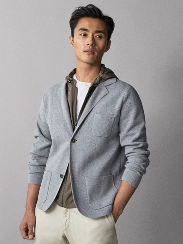 COTTON BLAZER CARDIGAN WITH CONTRAST HOOD