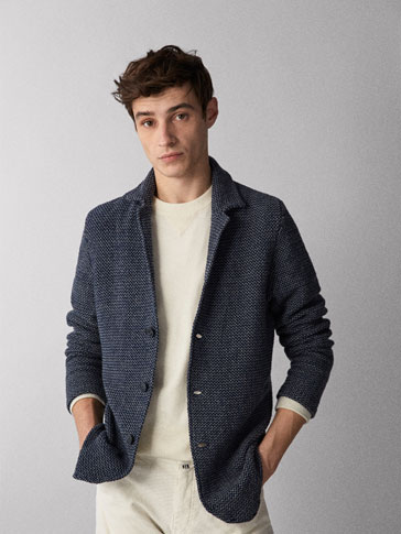 TWO-TONE TEXTURED COTTON BLAZER