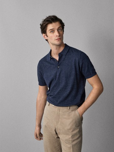 Cotton MoulinÉ Polo Sweater by Massimo Dutti