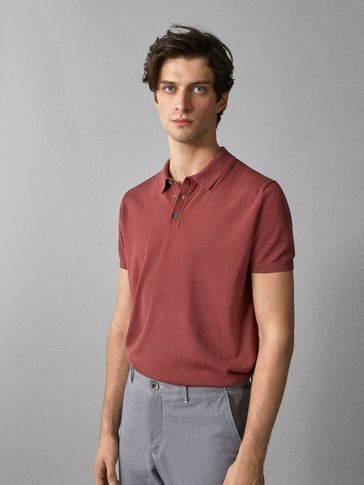 PLAIN COTTON POLO-STYLE SWEATER