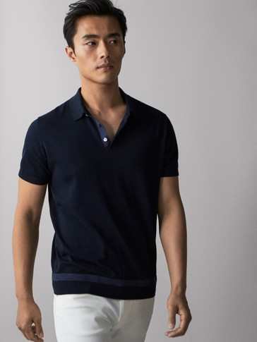 COTTON POLO SHIRT SWEATER WITH CONTRASTING STRIPE