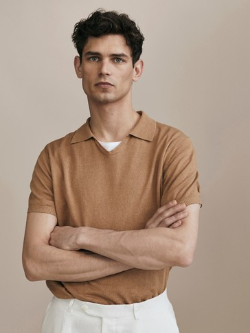 LIMITED EDITION PLAIN COTTON AND LINEN POLO-STYLE SWEATER