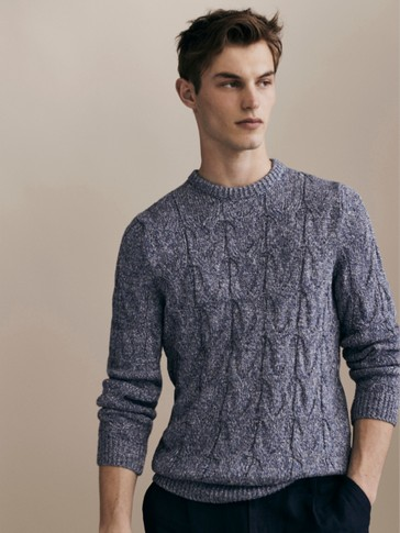 LIMITED EDITION CABLE-KNIT LINEN AND COTTON SWEATER