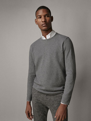 COTTON CASHMERE TEXTURED WEAVE SWEATER