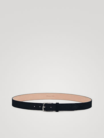 NAVY EMBOSSED SPLIT SUEDE BELT