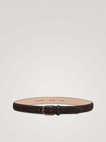 TOPSTITCHED SPLIT SUEDE BELT