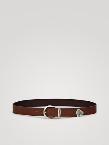 NAPPA BELT WITH EMBOSSED TIP