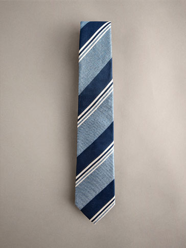 STRIPED 100% SILK TIE