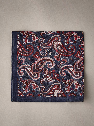 PAISLEY 100% LINEN POCKET SQUARE