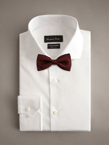 PLAIN WOOL SILK BOW TIE
