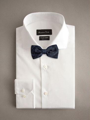 TWO-TONE PRINT SILK/COTTON BOW TIE