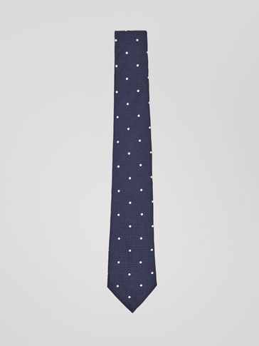 POLKA DOT SILK TIE WITH TEXTURED WEAVE