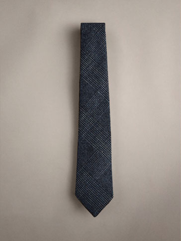 CHECK LINEN WOOL SILK TIE