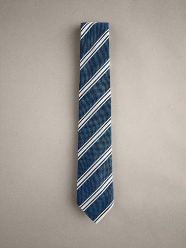 STRIPED SILK/COTTON TIE