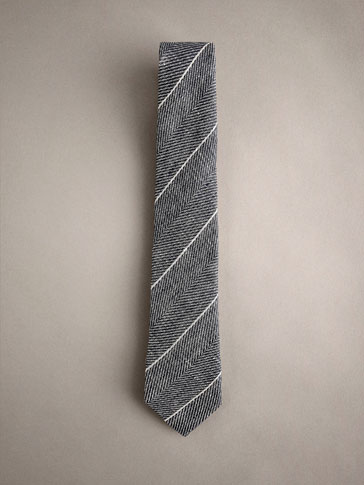 STRIPED 100% LINEN TIE