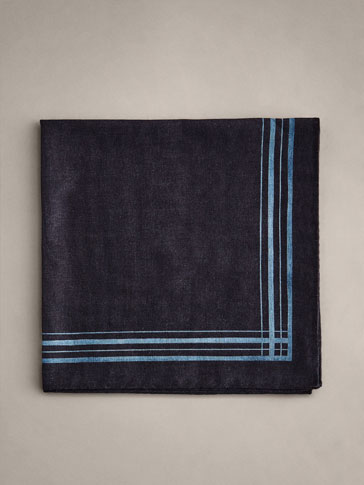 PERSONAL TAILORING COTTON POCKET SQUARE WITH CONTRAST BORDER